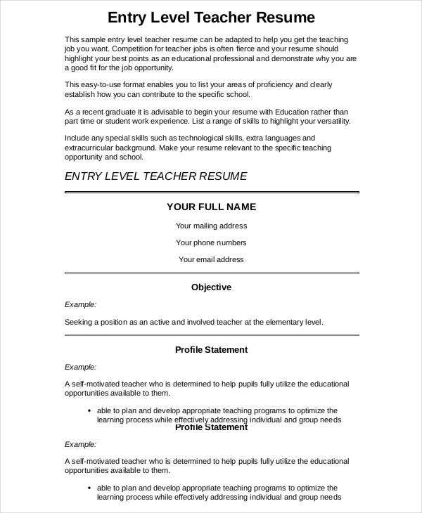 Entry Level Preschool Teacher Resume