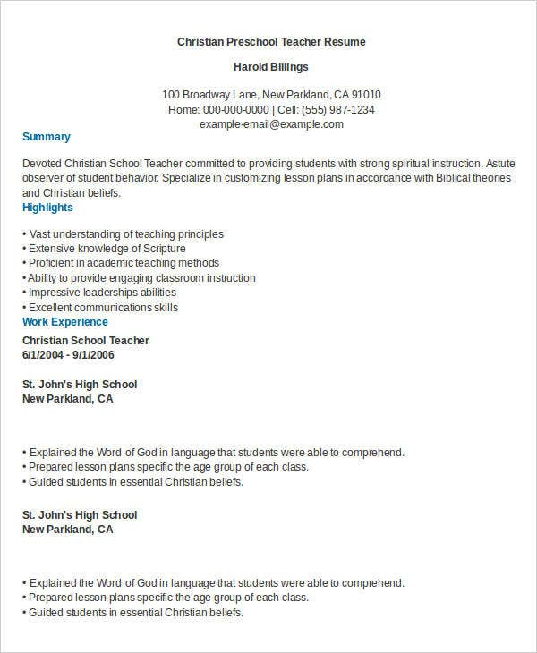 9+ Preschool Teacher Resumes  School Teacher Resume