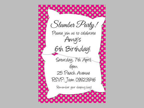 Printable Sleepover Party Invitation Template  Party Rsvp Template