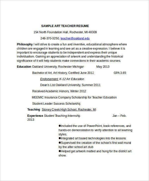 9 preschool teacher resume templates pdf doc free for Sample resume for art and craft teacher