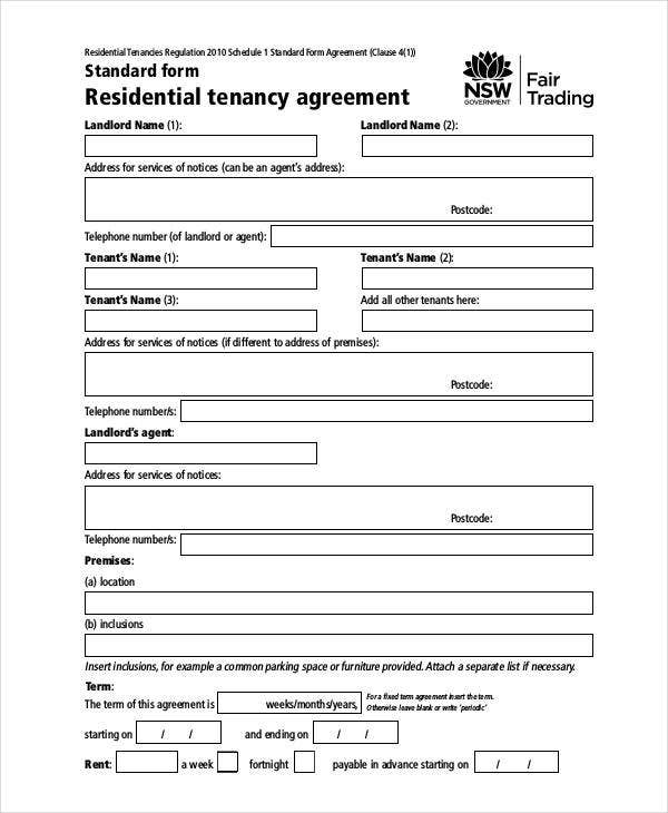 Rent Agreement Form - 9+ Free Word, PDF Documents Download | Free ...