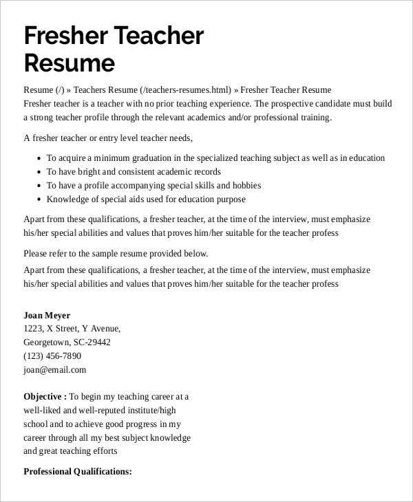preschool teacher resume with no experience