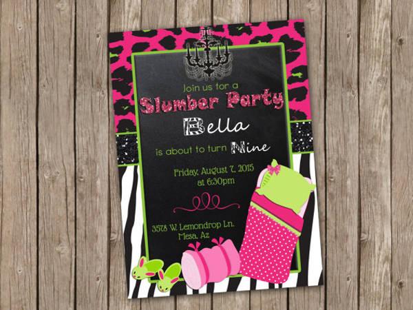 bella slumber party invitation template