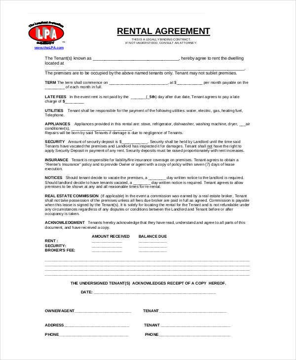 basic rent agreement form