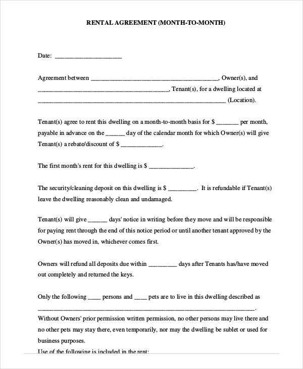 rent agreement form month to month