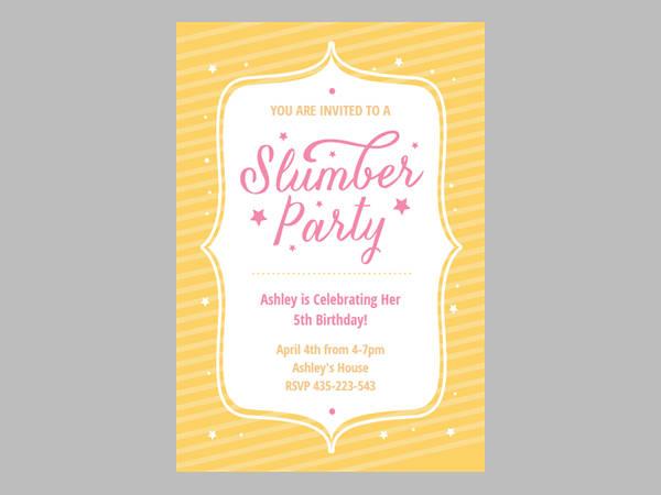 party stars slumber party invitations