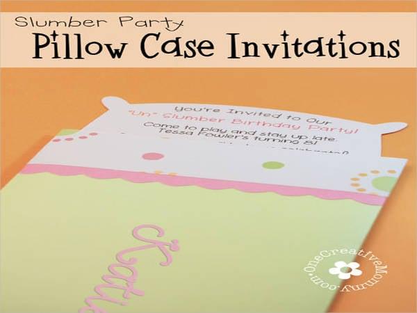 pillow case un slumber party invitations