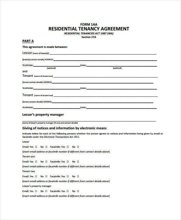 sample residential tenancy agreement form
