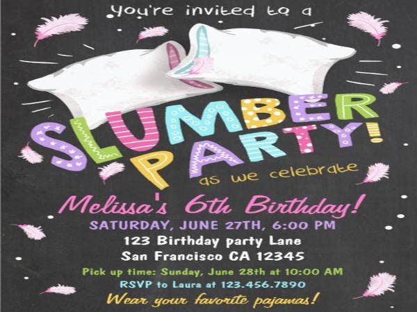 pajama party flyer template