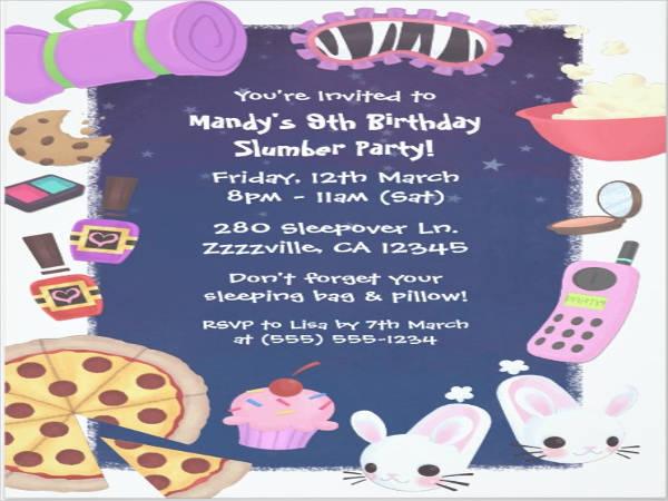 girls slumber party card