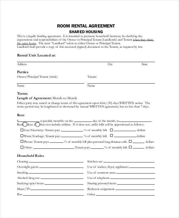 room rental agreement form
