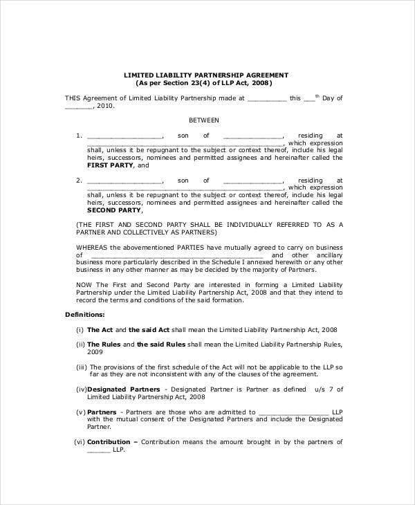 General Partnership Agreement   Free Pdf Word Documents