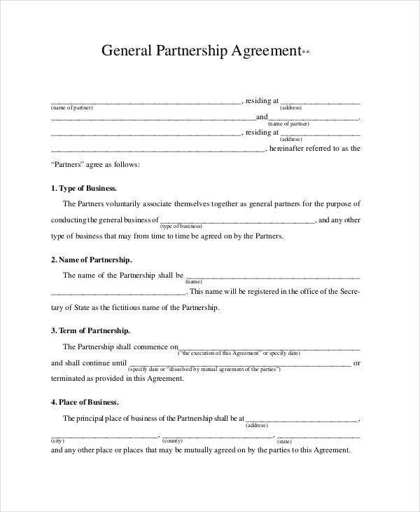 General Partnership Agreement   Free Pdf Word Documents Download