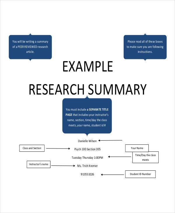 Example Research Paper Summary Template