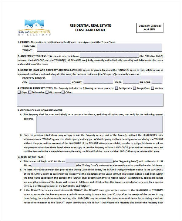 Real Estate Lease Form