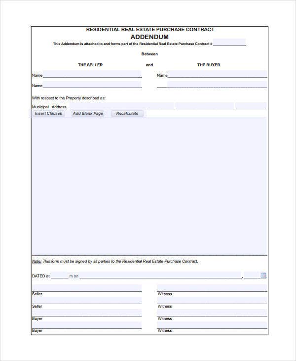 Lease Addendum Form Real Estate Addendum Form Real Estate Form Free