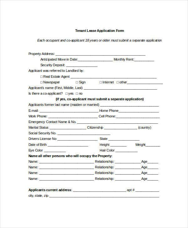 Tenant Application Form - 9+ Free Word, PDF Documents Download ...