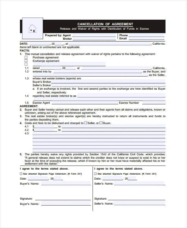 Real Estate Cancellation Form