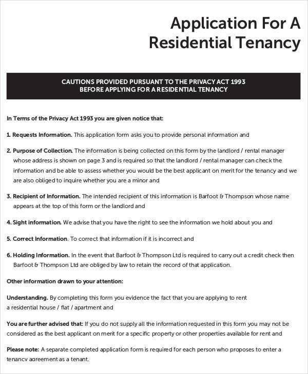 Tenant Application Form   Free Word Pdf Documents Download