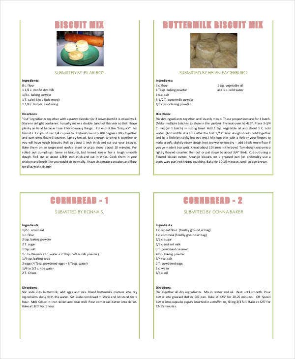 self stable recipe book template