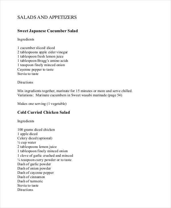 diet recipe book template