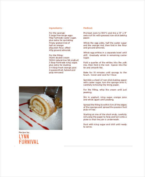 dessert recipe book template