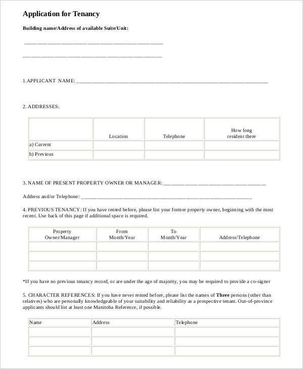 Blank Tenant Application Form