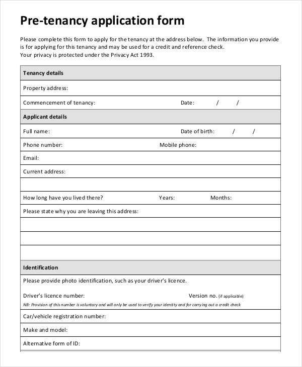 Pre-Tenancy Application Form