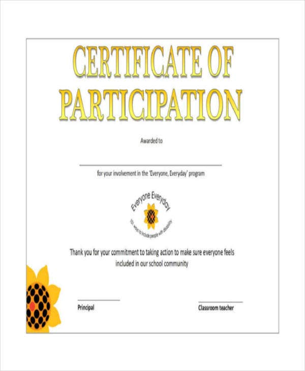 Certificate of participation template 7 free word pdf for Certificate of participation template