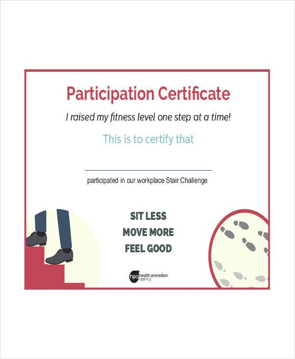 Fitness Participation Certificate