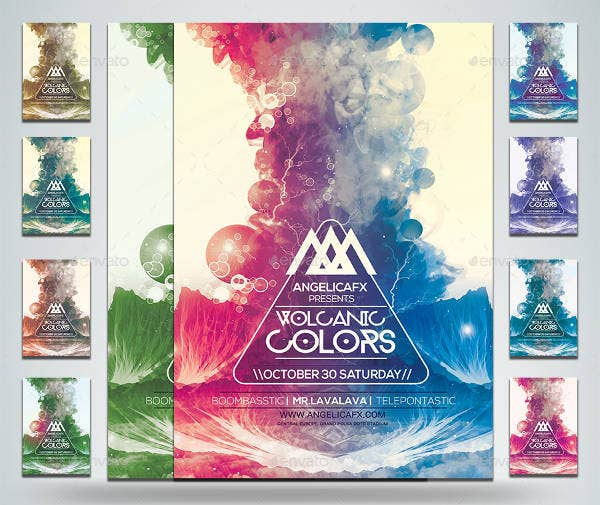 volcanic colors poster template