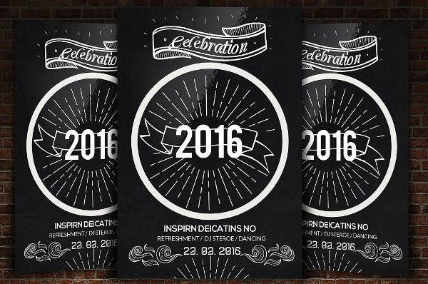 New Year Chalkboard Poster Template