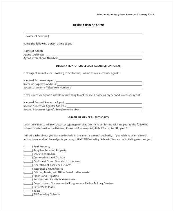 statutory short form power of attorney form