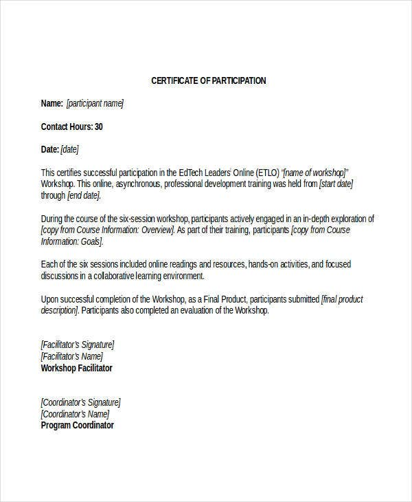 Certificate of participation template 7 free word pdf documents certificate of participation in workshop template yelopaper