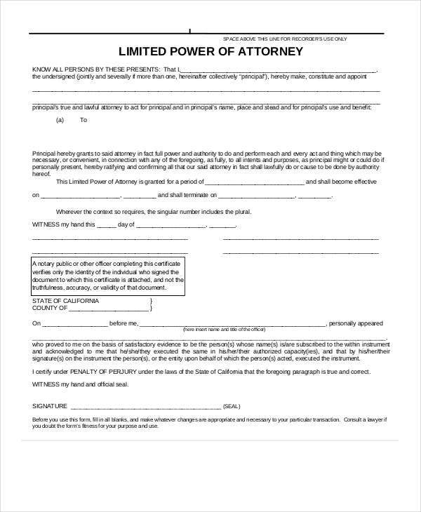 Limited Power Of Attorney Form