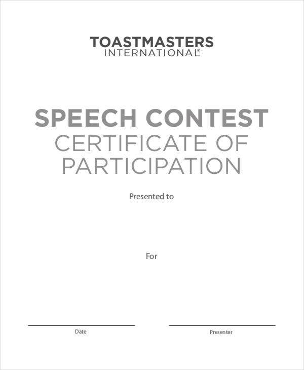 speech contest certificate template certificate of participation template 7 free word pdf
