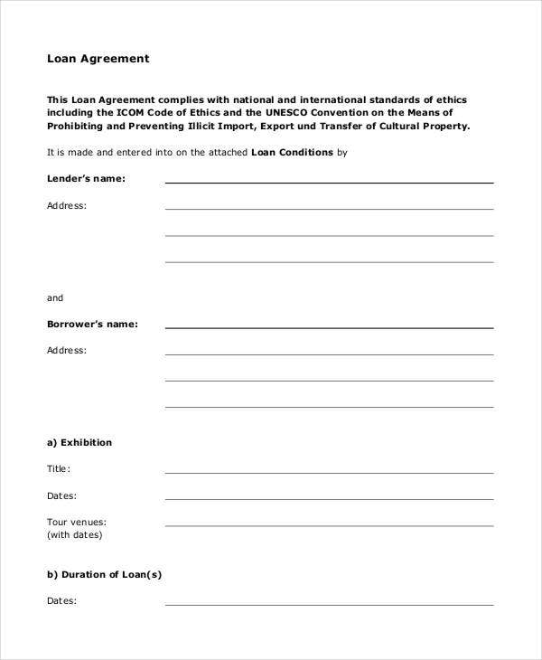 Loan Agreement Form 9 Free PDF Documents Download – Simple Loan Form