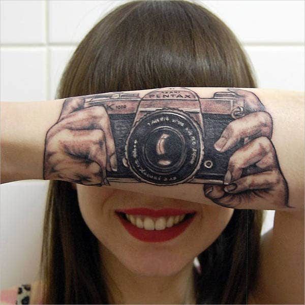 3D Camera Tattoo Design