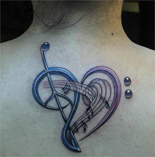 3D Music Tattoo Design