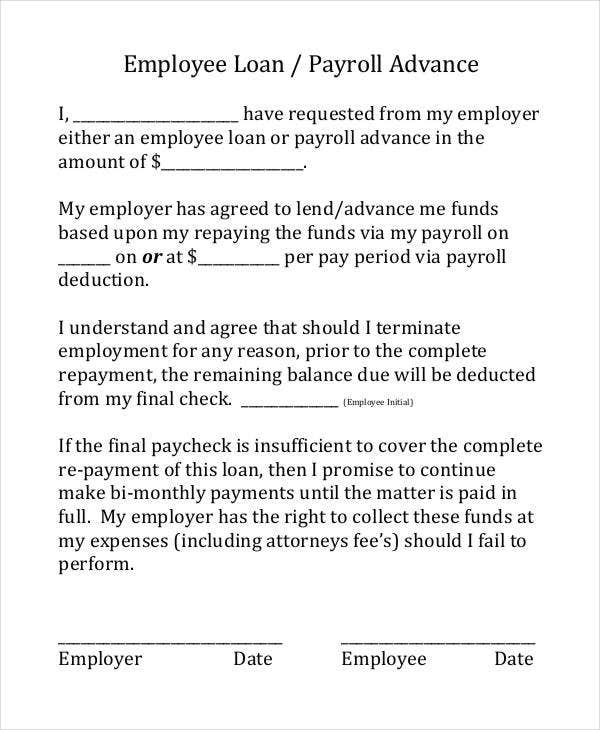 Employee Loan Agreement Form  Printable Loan Agreement