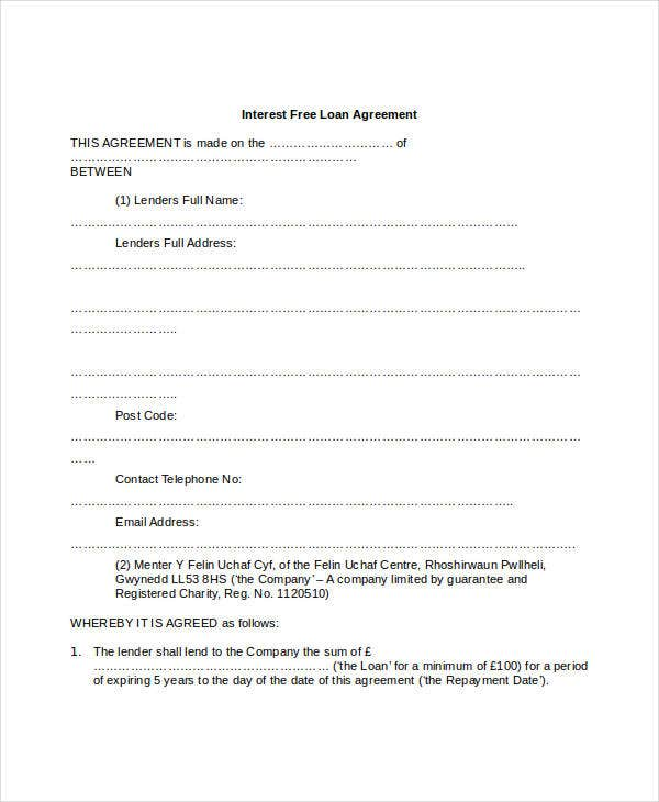 Loan Agreement Form 9 Free PDF Documents Download – Interest Free Loan Agreement Template