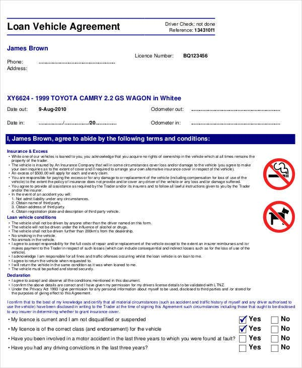 Vehicle Loan Agreement Form  Printable Loan Agreement