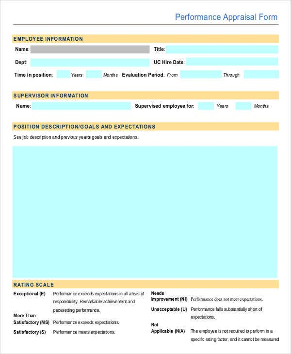 9 Employee Review Forms Free Sample Example Format – Employee Review Forms