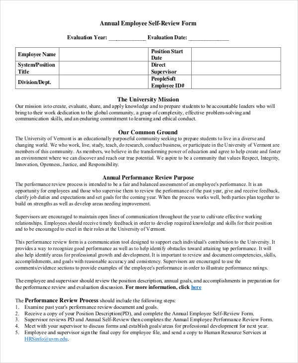 9 Employee Review Forms Free Sample Example Format – Employee Feedback Forms