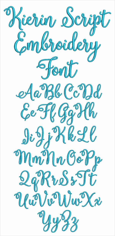 kierin script embroidery font