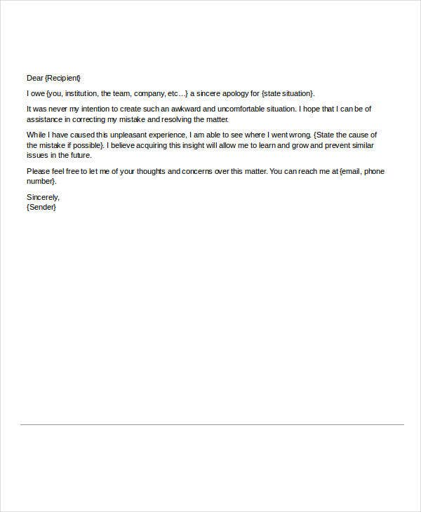 Letter of Apology for Mistake