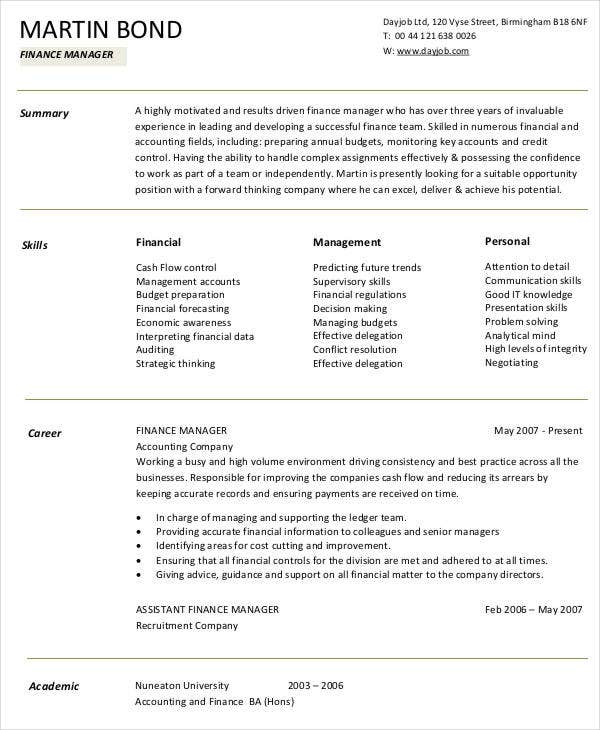 10 Finance Resume Templates Pdf Doc Free Amp Premium