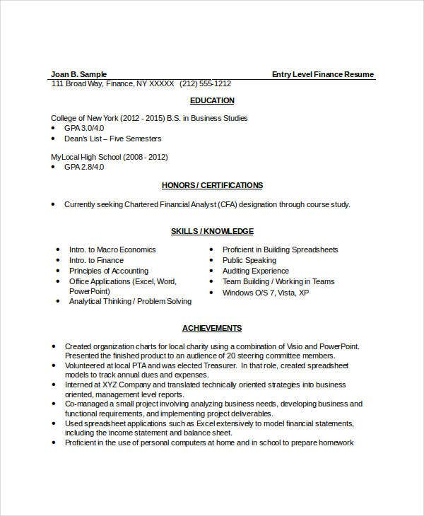 entry level finance resume template