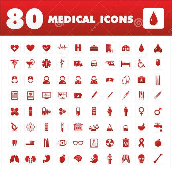 red color medical icons set