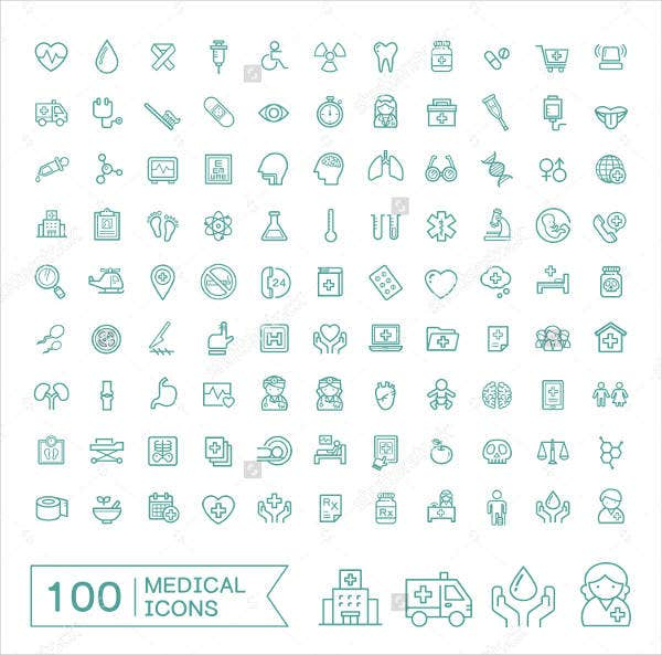 100 flat medical icons